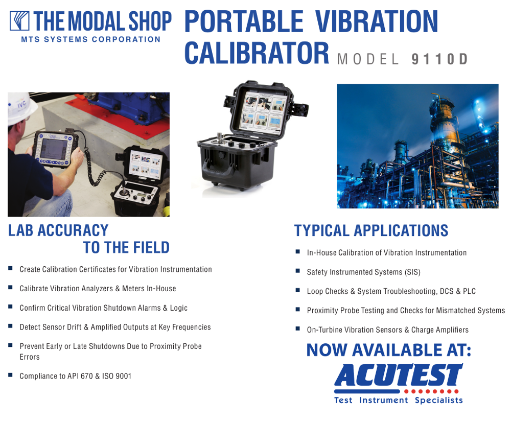 9110D Portable Vibration Calibrator Features and Industry Infographic