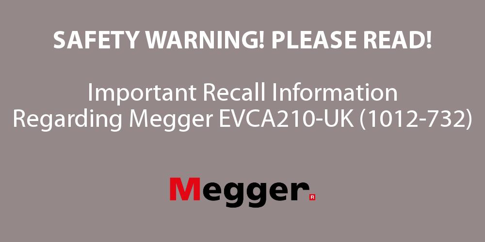 Megger EVCA210-UK Recall Banner